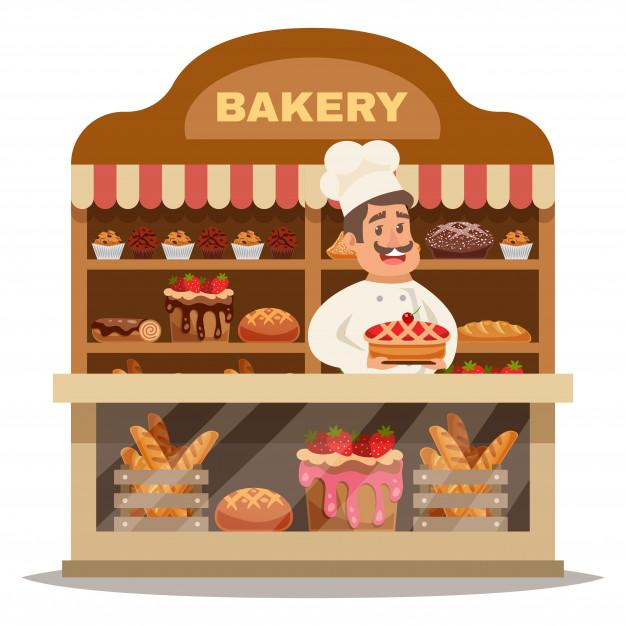 Bakery shop design concept Free Vector