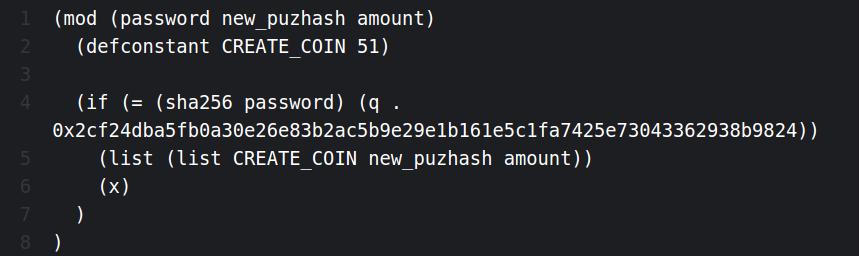 Пример кода на LISP-ориентированном ChiaLisp