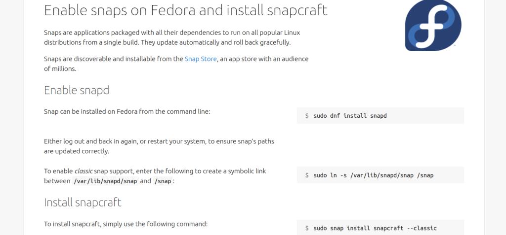 Рисунок 4: команды для установки Snapcraft на Fedora для тех, кто упустил из виду ссылку. Вторую команду можно не использовать.