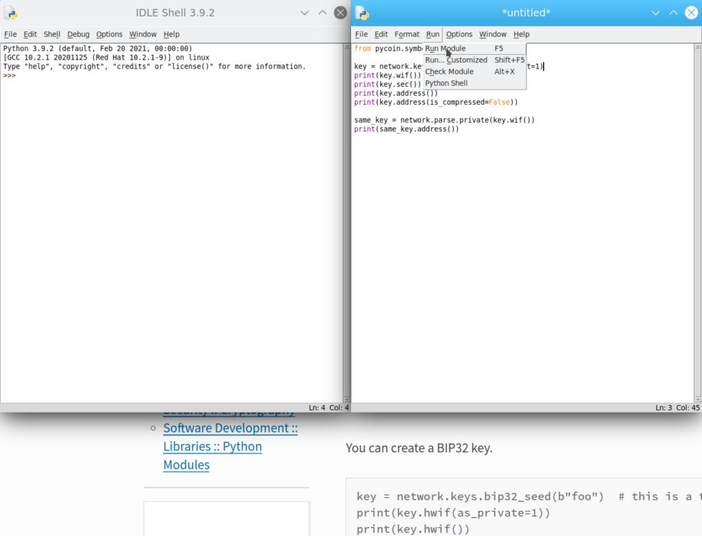 Рисунок 11: тестируем генерацию адресов и ключей в PyCoin по готовому коду